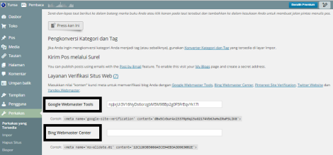 cara verifikasi wordpress ke webmaster, Wordpress.com sekarang bisa verifikasi google webmaster